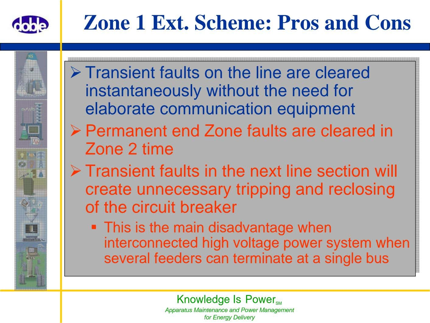 Zone 1 Ext. Scheme: Pros and Cons Knowledge Is Power SM Apparatus Maintenance and Power