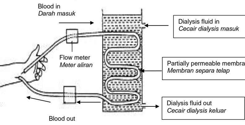 Blood in Darah masuk Flow meter Meter aliran Dialysis fluid out Cecair dialysis keluar Blood