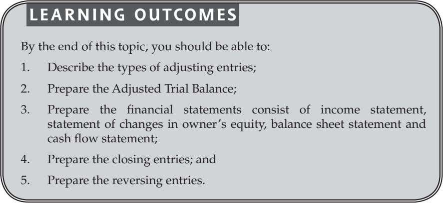 LEARNING OUTCOMES By the end of this topic, you should be able to: 1. Describe