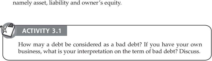 namely asset, liability and owner's equity. ACTIVITY 3.1 How may a debt be considered as