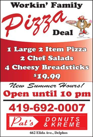 Workin' Family Deal 1 Large 2 Item Pizza 2 Chef Salads 4 Cheesy Breadsticks $