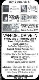 July2thruJuly8 Allshowsbefore6pm $4.50-Adults$7.00 Kids&Seniors$4.50 VAN-DELDRIVEIN FridayJuly2-TuesdayJuly6