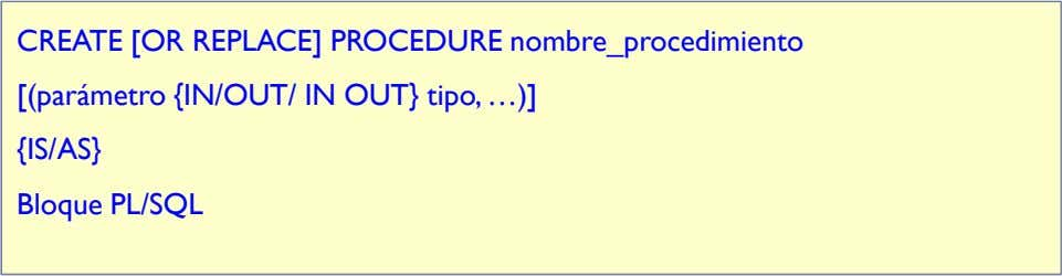 CREATE [OR REPLACE] PROCEDURE nombre_procedimiento [(parámetro {IN/OUT/ IN OUT} tipo, …)] {IS/AS} Bloque PL/SQL