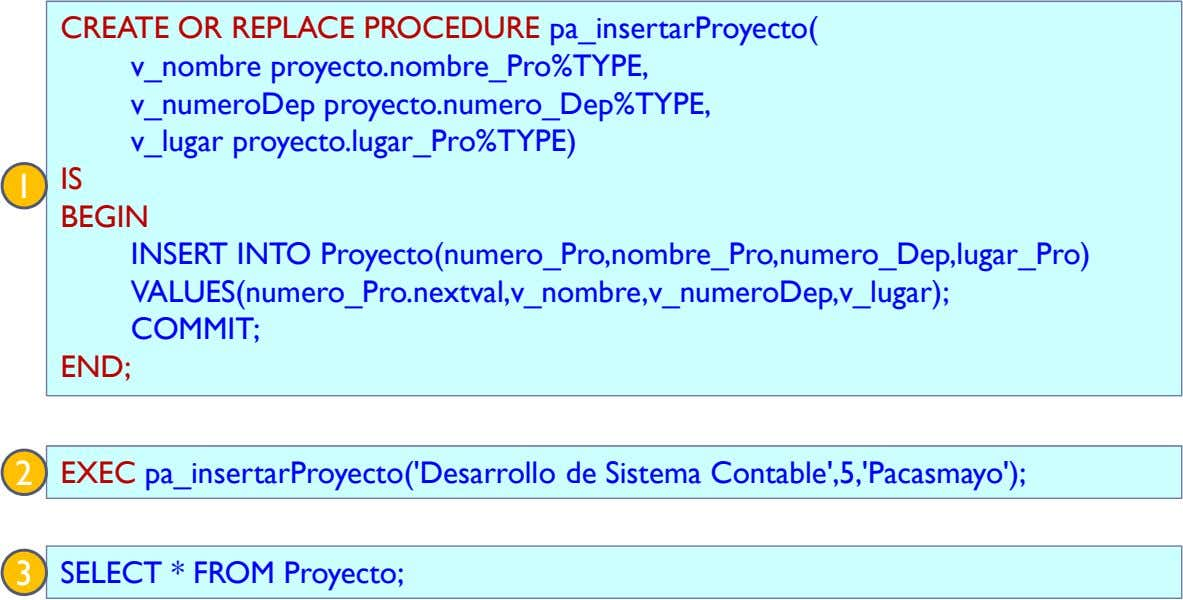 CREATE OR REPLACE PROCEDURE pa_insertarProyecto( v_nombre proyecto.nombre_Pro%TYPE, v_numeroDep
