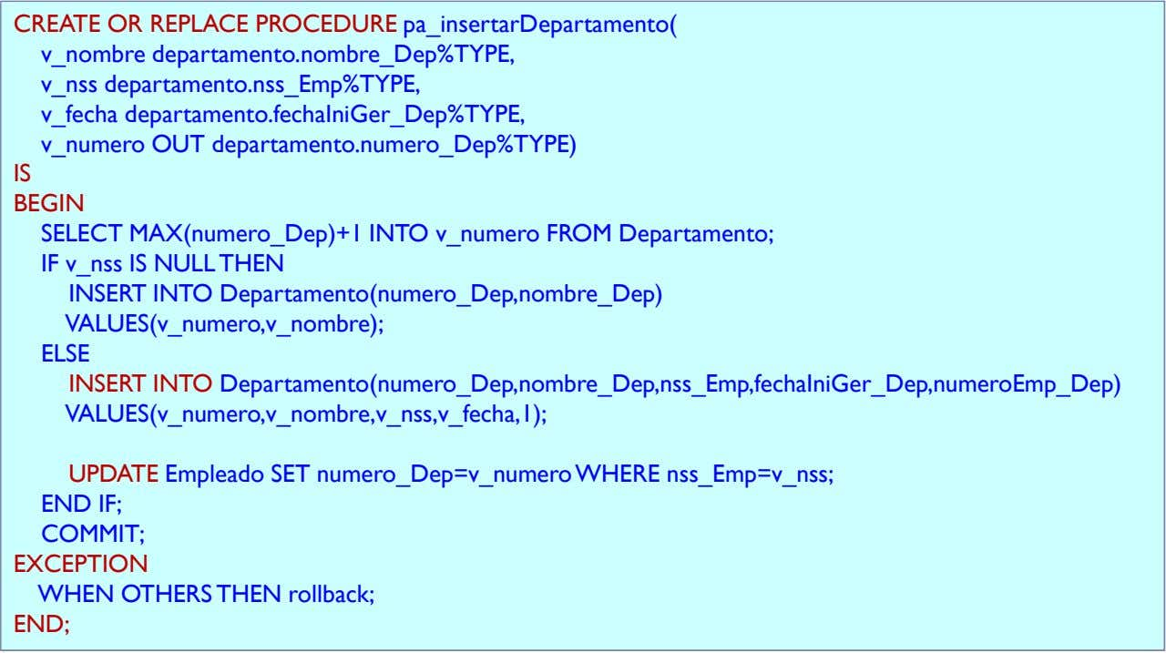 CREATE OR REPLACE PROCEDURE pa_insertarDepartamento( v_nombre departamento.nombre_Dep%TYPE, v_nss