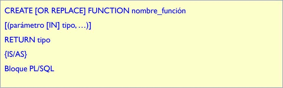 CREATE [OR REPLACE] FUNCTION nombre_función [(parámetro [IN] tipo, …)] RETURN tipo {IS/AS} Bloque PL/SQL