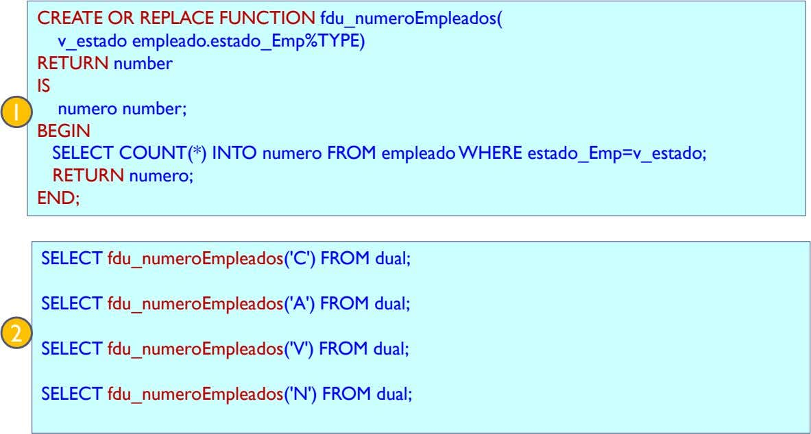 CREATE OR REPLACE FUNCTION fdu_numeroEmpleados( v_estado empleado.estado_Emp%TYPE) RETURN number IS 1 numero number;