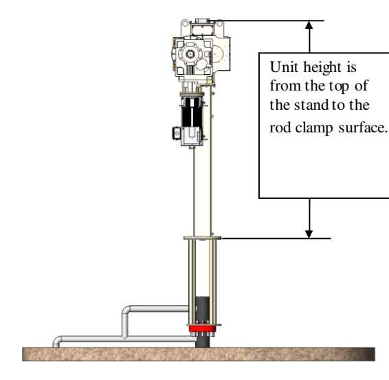 Unit height is from the top of the stand to the rod clamp surface.
