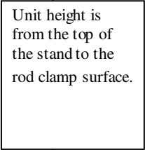 is from the top of the stand to the rod clamp surface. Note: Use this to