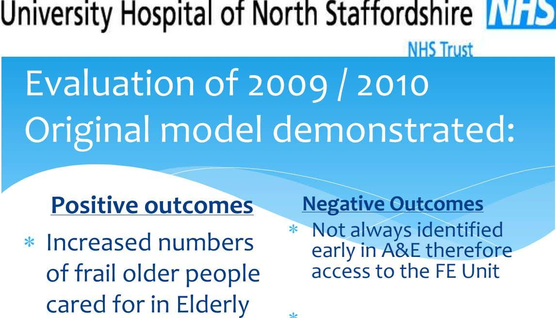 Evaluation of 2009 / 2010 Original model demonstrated: Positive outcomes Negative Outcomes Increased numbers of