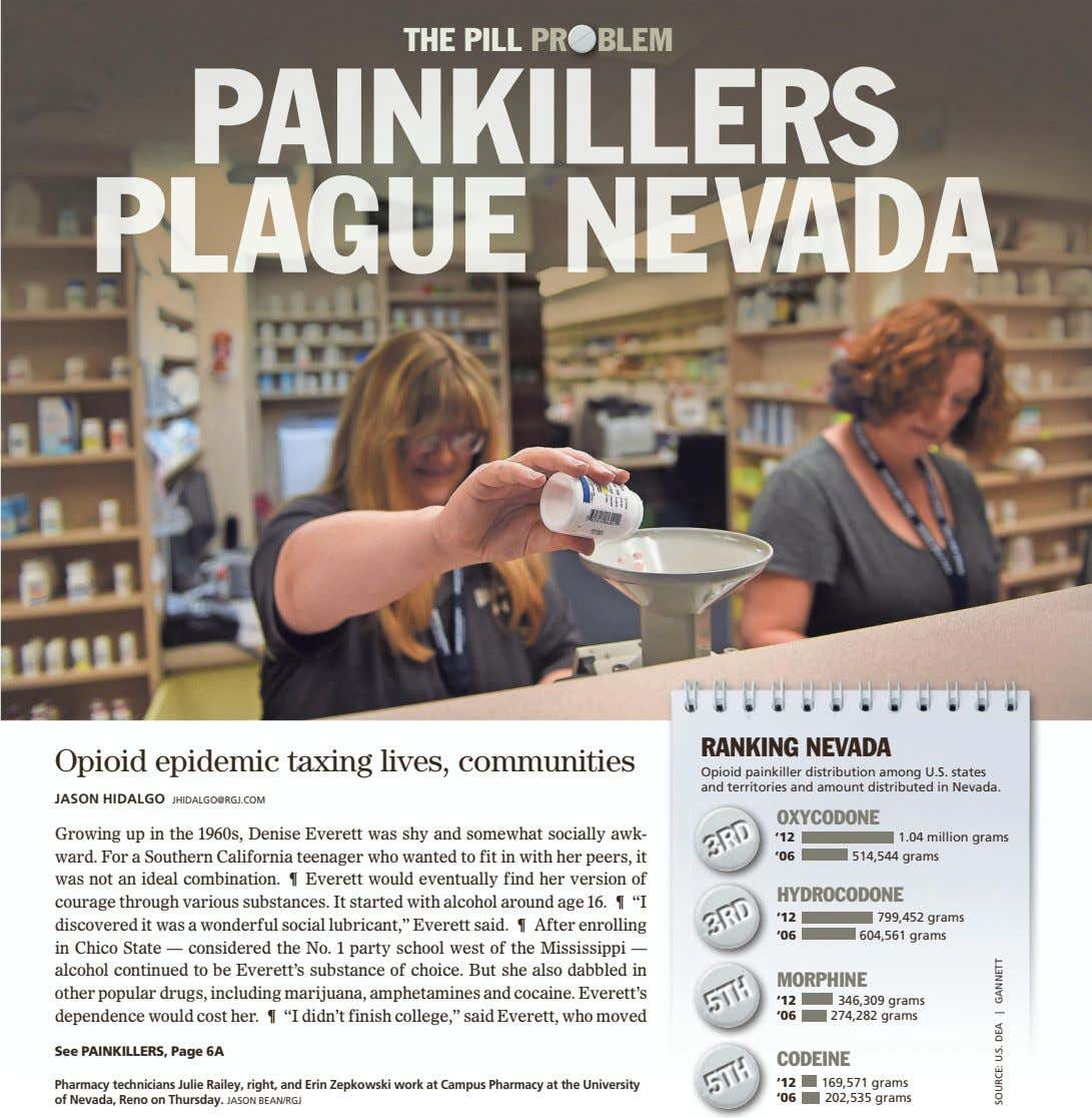 THE PILL PR BLEM RANKING NEVADA Opioid epidemic taxing lives, communities Opioid painkiller distribution among