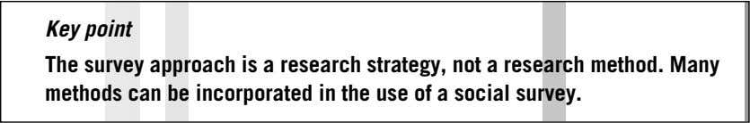 Key point The survey approach is a research strategy, not a research method. Many methods can