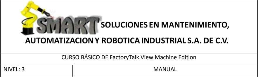 CURSO BÁSICO DE FactoryTalk View Machine Edition NIVEL: 3 MANUAL