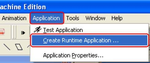 "Seleccione Application  Create Runtime Application. Es importente que se asegure de seleccionar "" Runtime"