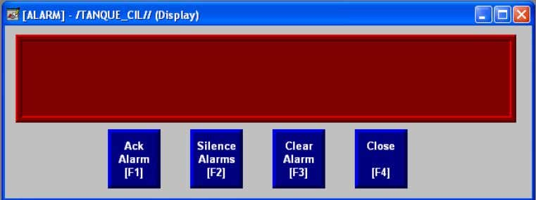 Existen 4 tipos de botones en el Display de Alarmas: 1. Acknowledge All Alarms (confirmar todas