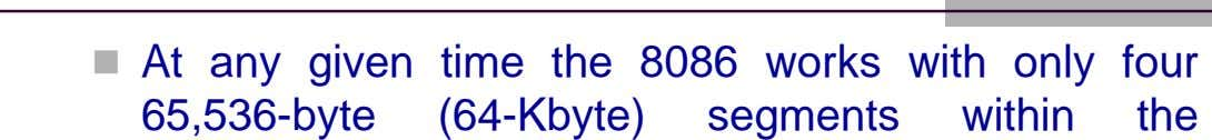  At any given time the 8086 works with only four 65,536-byte (64-Kbyte) segments within the