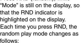 the RND indicator is highlighted on the display. Each time you press RND, the random play