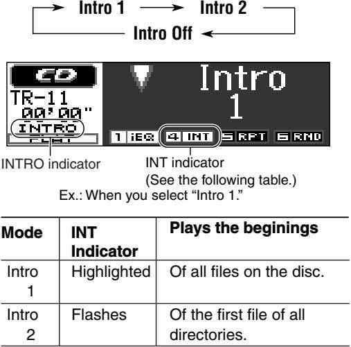 Intro 1 Intro 2 Intro Off INTRO indicator INT indicator (See the following table.) Ex.: