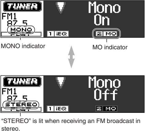 "MONO indicator MO indicator ""STEREO"" is lit when receiving an FM broadcast in stereo."