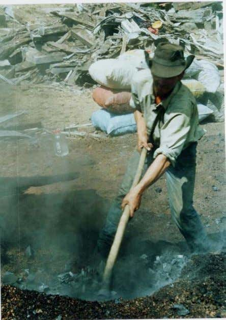"""Harvesting"" the Charcoal In this section, we'll describe how the coal is retrieved from the pelcha."