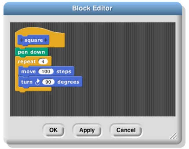 under the hat to program your custom block, then click OK: Your block appears at the