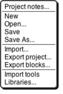 icon shows a menu mostly about saving and loading projects: The Project notes option opens a