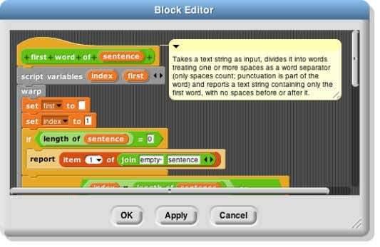 an example of a block with a comment and its help display: The same comment is