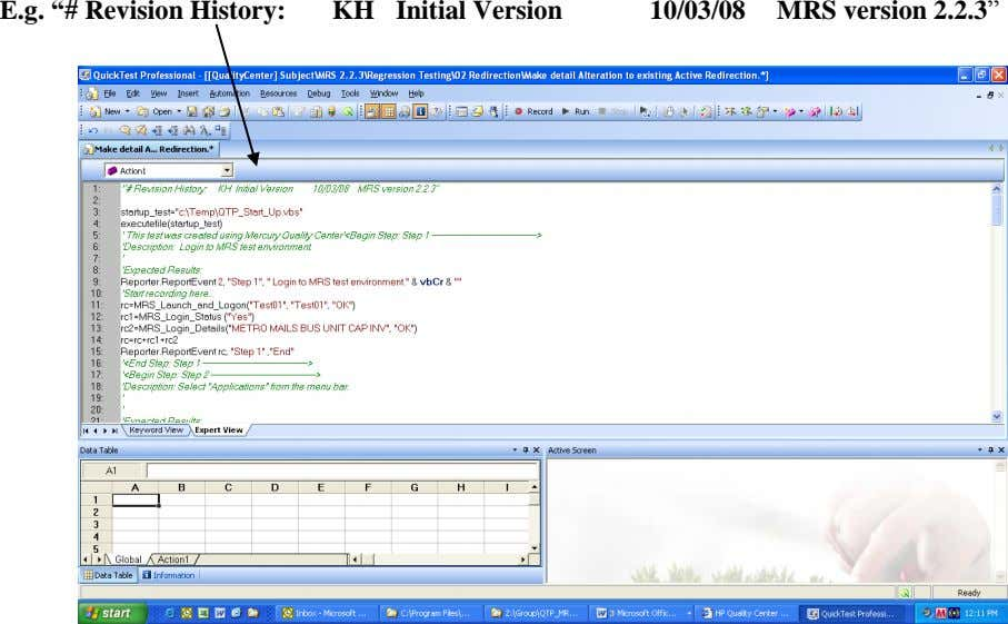 "E.g. ""# Revision History: KH Initial Version 10/03/08 MRS version 2.2.3"""
