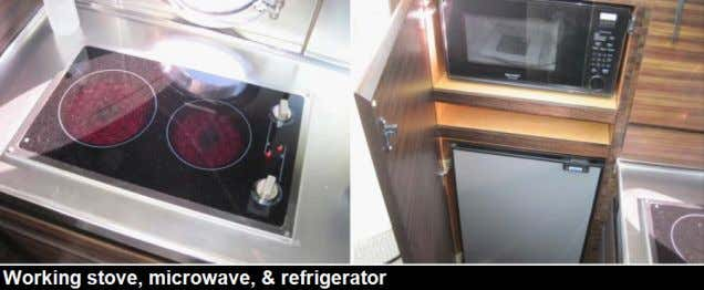 Stove: The stove was a two burner 230 volt glass top stove sighted recessed into the