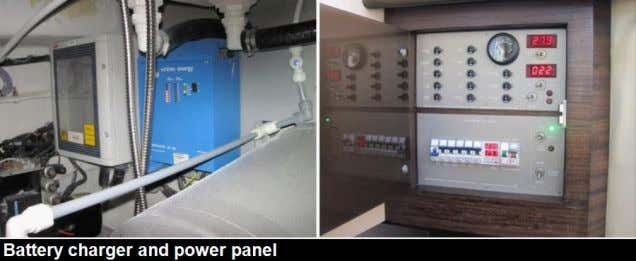 power distribution panel. Appeared functional when tested. The vessel's batteries could be charged via the onboard