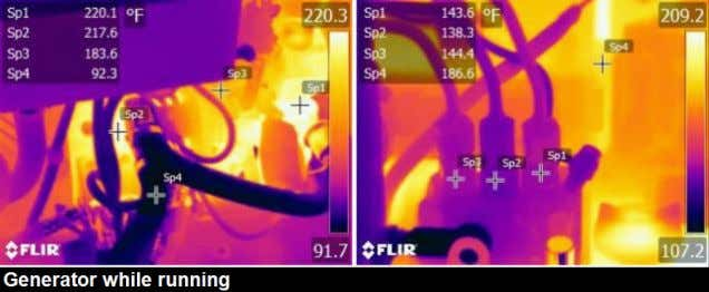 Thermal images: Condition summary: Thermal images taken of the generator were normal while it was running.