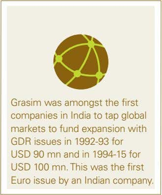 Grasim was amongst the first companies in india to tap global markets to fund expansion