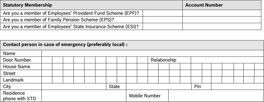 Statutory Membership Account Number Are you a member of Employees' Provident Fund Scheme (EPF)? Are