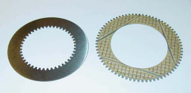 Wet Clutch Tribology Figure 4: Investigated clutch discs. Hardened steel separator disk on the left, and