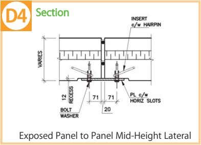 D4 Section Exposed Panel to Panel Mid-Height Lateral