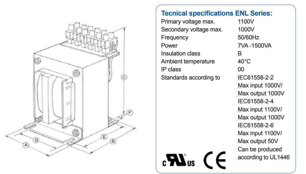 Tecnical specifications ENL Series: Primary voltage max. Secondary voltage max. Frequency Power Insulation class Ambient temperature