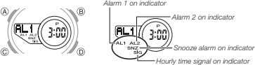 Alarm 1 on indicator Alarm 2 on indicator Snooze alarm on indicator Hourly time signal