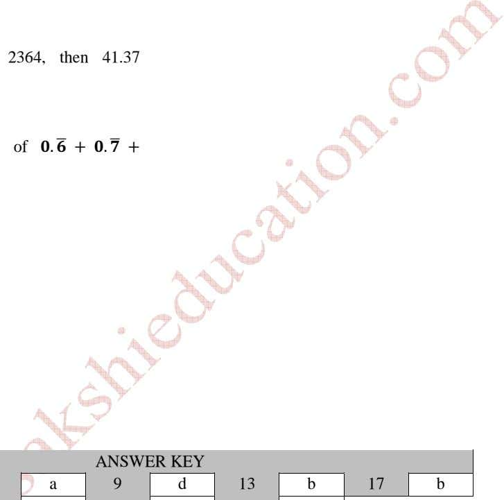 2364, then 41.37 of . . ANSWER KEY a 9 d 13 b 17 b