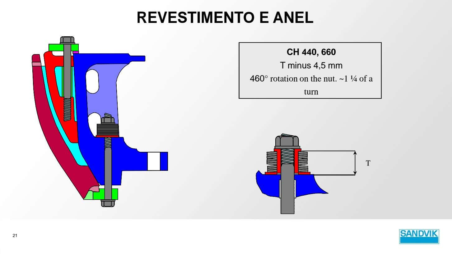 REVESTIMENTO E ANEL CH 440, 660 T minus 4,5 mm 460° rotation on the nut.