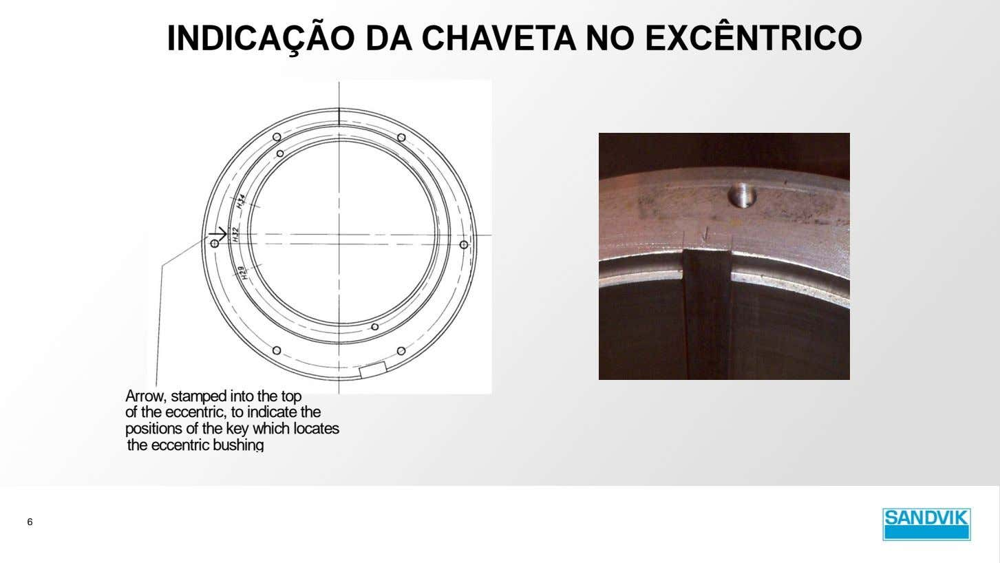 INDICAÇÃO DA CHAVETA NO EXCÊNTRICO Arrow, stamped into the top of the eccentric, to indicate
