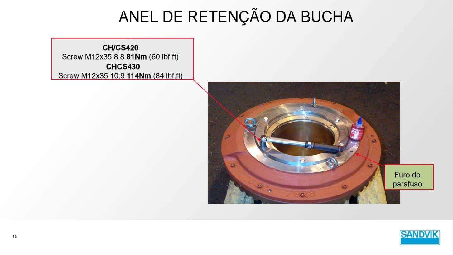 ANEL DE RETENÇÃO DA BUCHA CH/CS420 Screw M12x35 8.8 81Nm (60 lbf.ft) CHCS430 Screw M12x35