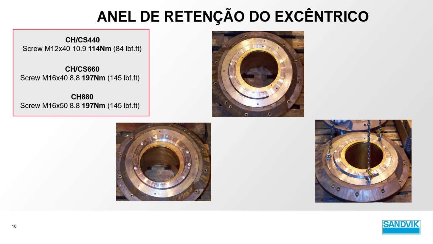 ANEL DE RETENÇÃO DO EXCÊNTRICO CH/CS440 Screw M12x40 10.9 114Nm (84 lbf.ft) CH/CS660 Screw M16x40