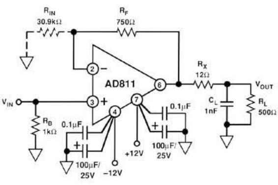 AD811 CURRENT FEEDBACK OP AMP (CIRCUIT BANDWIDTH = 13.5 MHz) Figure 2.3 As noted, this technique