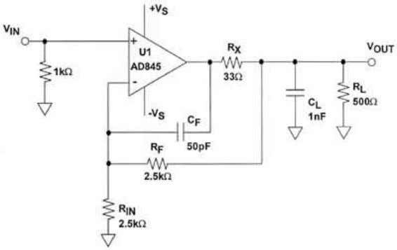 LOAD COMPENSATION CORRECTS FOR DC AND LF GAIN ERRORS Figure 2.5 This circuit returns the DC