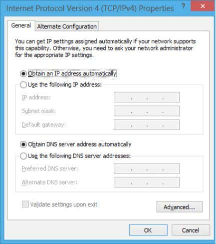 su Obtain an IP address automatically e poi premere OK . NOTA: se si utilizza una