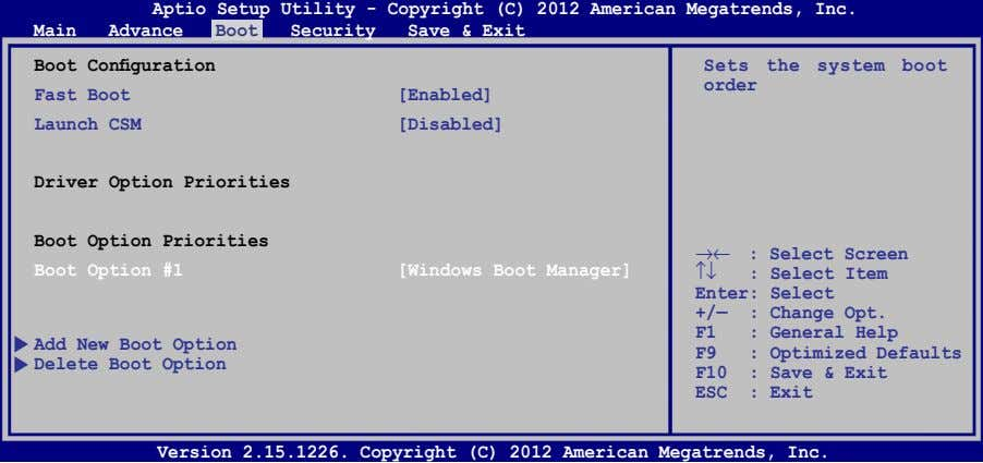 Aptio Setup Utility - Copyright (C) 2012 American Megatrends, Inc. Main Advance Boot Security Save