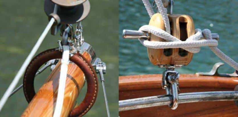 WHITE ROSE OF MEVAGISSEY Clockwise from top left: bowsprit traveller and bronze furler; mainsheet block with