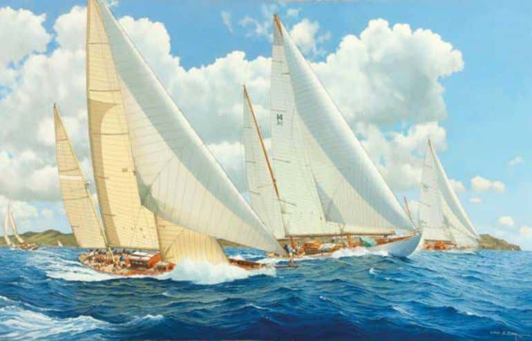 Objects of desire John Groves historic paintings A corvette, nearly all plain sail set, beats out
