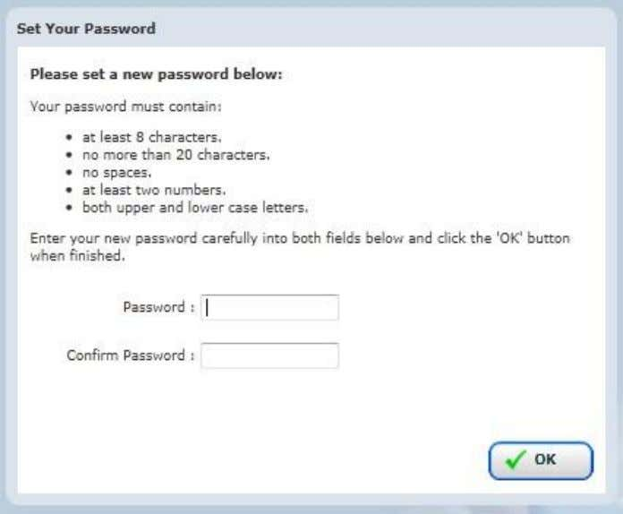 Enter your new password into the field labelled Password and retype the same password into