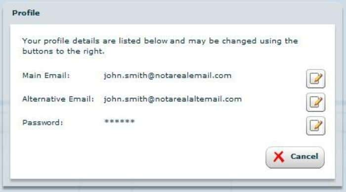 the following screen, whi ch is the ' Profile' menu. 4.2.1. Changing your main email address.